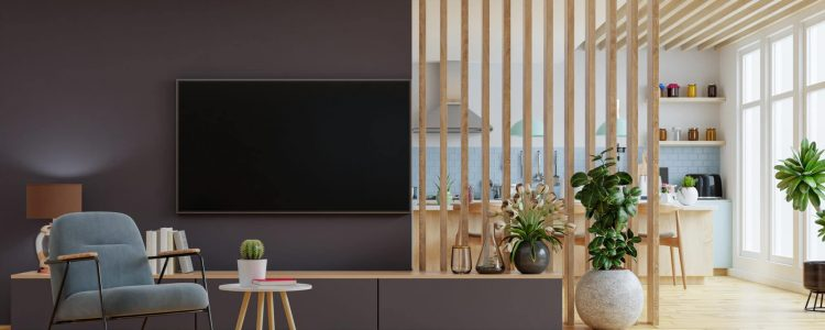 Modern interior room with furniture,TV room,Dining room,The kitchen.3d rendering