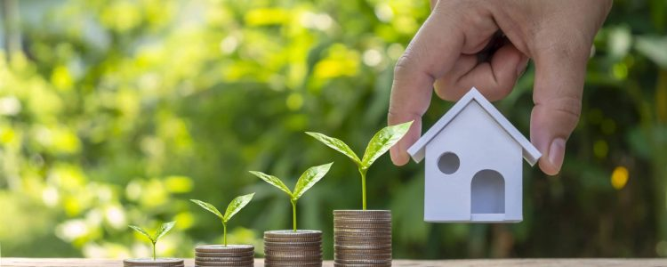 businessman hand holding model house and tree growing on a pile of credit concept coins. Real Estate, Finance, Mortgage, Residential Real Estate